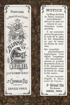 Antique Vintage French Apothecary Perfume Label 35 etiqueta blanco