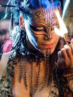 Maori-inspired tribal make-up from the 2008 movie Doomsday.