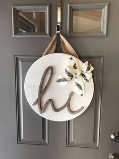 White Front Door Hanger, Door Hanging Decor, Sign For Front Door, Wood Door Decor, Round Wood Sign, Front Door Wreaths Year Round, New Home #DIYHomeDecorSigns Bedroom Doors, Decorative Plates, Room Doors