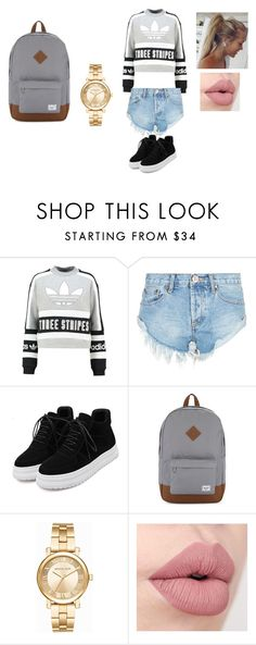 """Ughh School"" by jasmine-fry on Polyvore featuring adidas Originals, OneTeaspoon, Herschel Supply Co. and Michael Kors"