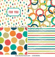 Fun seamless hipster background pattern set in retro colors. Great for Baby Shower, Birthday, Easter, Wedding, Greeting Cards, Mothers Day, scrapbook, gift wrapping paper, surface textures.
