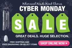 Don't miss out our great deals for Cyber Monday! NOW is the best time for you to get some #awesome chimes! || whimsicalwinds.com || #deal #CyberMonday #sale #chimes #gift #homedecor #windchime Cyber Monday, Great Deals, Wind Chimes, Whimsical, How To Get, Awesome, Gift, Gifts