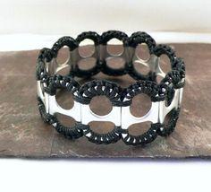 Recycled Pop Tab and Crochet Bracelet in Black by StellaStory