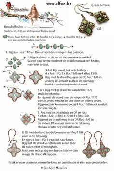 Gratis patronen | Elfenatelier Free Beading Tutorials, Beading Patterns Free, Seed Bead Patterns, Jewelry Making Tutorials, Free Pattern, Beaded Earrings Patterns, Beaded Jewelry Designs, Diy Earrings, Seed Bead Earrings