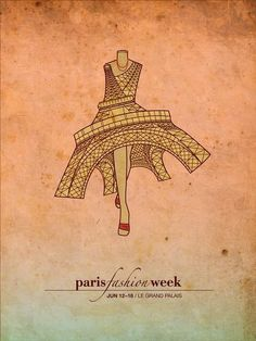 Paris Fashion Week poster incorporating the iconic Eiffel Tower into the dress