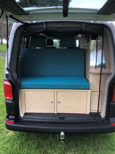 Our latest van conversion with a blue rock and roll bed, timber cabinetry and rear fly wire. Small Campers For Sale, Truck Campers For Sale, Used Rv For Sale, Van For Sale, Used Camper Vans, Small Camper Vans, Used Vans, Vw Campervans For Sale, Van Conversion Campervan
