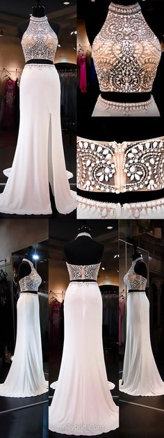 Two Pieces Prom Dresses, White Prom Dresses, Long Prom Dresses 2018, Sheath/Column Prom Dresses Backless, Chiffon Prom Dresses Tulle, Beading Prom Dresses Halter Modest