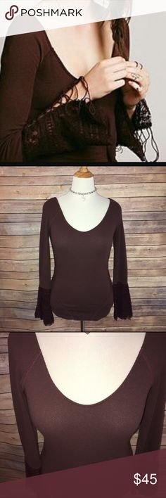 Free People Deep Cocoa/Burgundy Lacy Cuff Thermal Super rare and gorgeous! Beautiful deep cocoa shade with burgundy hue. Wide cuff with lace/Embroidered detail. Very stretchy, soft and flattering. Excellent quality and condition. Check out my other listings to bundle and save 25% 😎! Free People Tops Tees - Long Sleeve