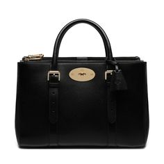 Mulberry Bayswater Double Zip Tote (8.720 BRL) ❤ liked on Polyvore featuring bags, handbags, tote bags, purses, black, double zip tote, black tote, mulberry tote, black leather tote bag and black leather tote