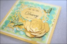 Wedding Card, 6x6, Spellbinder Dies, Stampin'Up! Butterfly stamp and punch with a touch of pearls.
