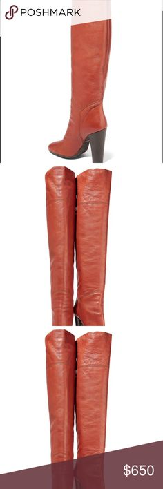GIUSEPPE ZANOTTI LEATHER OVER-THE-KNEE BOOTS Combining flawless craftsmanship with high-octane glamour, shoe designer Giuseppe Zanotti counts Beyoncé and Kylie among his many stylish fans. From Swarovski embellishment to butter-soft suede - look no further for your next pair of outfit-transforming heels. •    Giuseppe Zanotti brick boots •    Heel measures approximately 100mm/ 4 inches •    Leather •    Almond toe •    Pull on •    Made in Italy •    Fits small to size, take a half size…