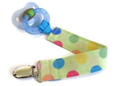 Pacifier clip for boy - lime lots of dots - Mam Soothie. $5.75, via Etsy.