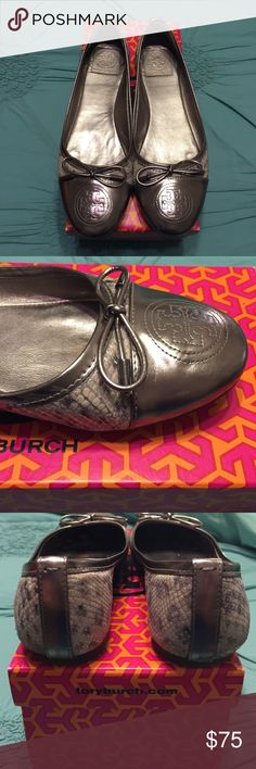 """Tory Burch Verbena Metal Luxe Snakeskin Flat Gently worn silver toe cap with bow Tory Burch flats purchased from Nordstrom. Includes box. 1"""" scratch on rear right heel from driving. Cannot be seen when on. Fits true to size. There are soft fabric grey heel pads in both shoes to prevent heel rubbing. Tory Burch Shoes Flats & Loafers"""