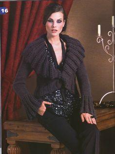 Large Collar Jacket free knitting graph pattern