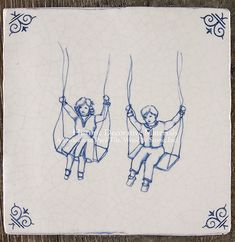 "Dutch Delft Tile - 17th Century Delft Wall Tile Collection™ Delft Tile - Children at Play Series ""Swings"" There are 6 motifs in this set. Sold by the set 5"" x 5"" hand made tile Choice of Cool White or Cream White field tile color."