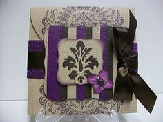 Violet, chocolate and Khaki card.