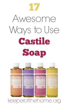 Have you heard about castile soap? It's crazy versatile and a little bit goes a long way! Great for the frugal mom who likes to stick to natural cleansers :) Here's 17 awesome ways to use castile soap, plus info on how to get some for free!