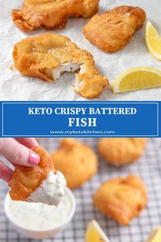 Keto Battered Fish - Perfect Low Carb Crispy Coating This Keto Battered Fish is just as you remember; crispy on the outside and juicy and tender on the inside. The delicious fish is best served with our lemony Keto Tartar Sauce. Low Carb Dinner Recipes, Keto Dinner, Keto Recipes, Keto Foods, Best Keto Meals, Tuna Recipes, Ketogenic Recipes, Mexican Recipes, Keto Snacks