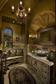 Mediterranean Powder Bathroom - Wow, this is gorgeous! Love the interior design & bathroom window seat