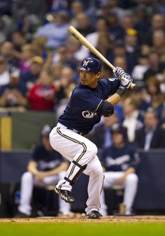May 7, 2012: Milwaukee, WI, USA; Milwaukee Brewers center fielder Norichika Aoki (7) bats during the game against the Cincinnati Reds at Miller Park. The Reds defeated the Brewers 6-1. Mandatory Credit: Jeff Hanisch-US PRESSWIRE