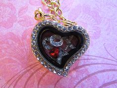 Floating Heart Locket with Floating charms inside Necklace by JRCsJEWELRY on Etsy