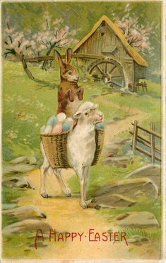 antique Easter postcard; bunny riding lamb with egg basket: