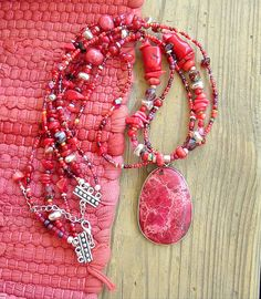 BOHO Chunky Southwest Necklace Red Stone Necklace por BohoStyleMe