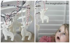White Clay Ornaments Tutorial · ingredients: baking soda, corn starch, water and silver glitter · The Imagination Tree