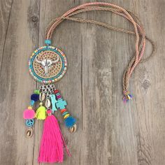 2016 Ethnic Handcraft Tibet Silver Coin Fashion Jewelry Cotton Tassel Long Rainbow Beads String Necklace Pendants