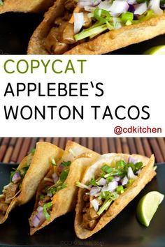 A homemade version of Applebee's popular chicken wonton tacos appetizer with zesty Asian slaw. | CDKitchen.com