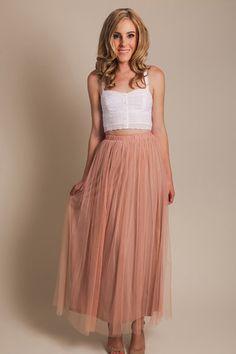Aubrey Tulle Rose Maxi Skirt