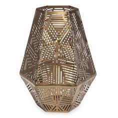 Laterne aus goldfarbenem Metall mit Lochmuster ASHENTI