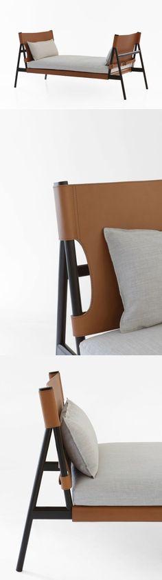 Tanned leather #daybed TRAVELLER by #Porro  | #design GamFratesi #Design