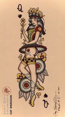 queen of hearts Traditional Tattoo | Queen of Hearts