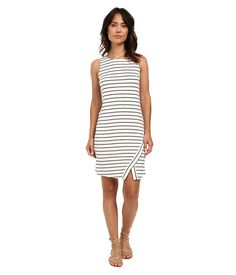 Show off your sophisticated side in this kensie dress. ; Sheath silhouette. ; Eye-catching stripes print on a stretchy viscose fabrication. ; Round neckline. ; Sleeveless design. ; Exposed zipper closure at back. ; Unlined. ; Straight hemline with a side slit for a flirty finish. ; 95% viscose, 5% spandex. ; Machine wash cold, lay flat to dry. ; Imported. Measurements: ; Length: 37 in ; Product measurements were taken using size SM. Please note that measurements may vary by size.