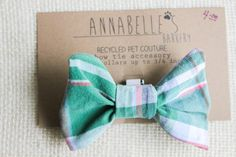 "Blue Green Pink Plaid Bow Tie 3/4"" Collar Accessory $4.00"
