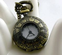 Pocket Watch Charm  Small Size Antique Brass Roman by ministore, $4.40