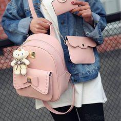 Cute Gray Pink Splicing Bowknot Shool Bag Bear Pendant PU Bow School Backpacks
