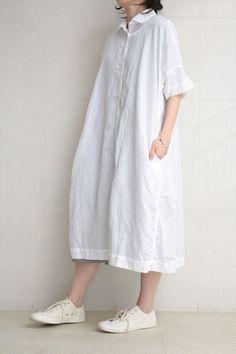 CASEY CASEY <br>LINEN DRESS WHITE: