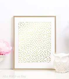 Dalmatian Spot Pattern - in Real Gold Foil Each print is professionally made in my studio using a process where metallic foils are fused to paper under