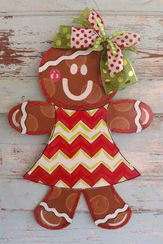 Gingerbread Door Hanger Christmas door Hanger by dixiepiedesigns Christmas Gingerbread, Christmas Fun, Holiday Fun, Christmas Wreaths, Christmas Decorations, Christmas Ornaments, Christmas Door Hangers, Burlap Crafts, Wood Crafts