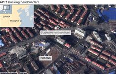 Satellite image of building in Shanghai suspected of being the headquarters of the Chinese military hackers.