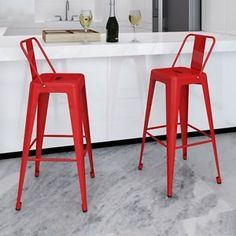 This bar stool set, featuring a neat and simple design, will surely bring you seating comfort. The immaculate bar stools speak for themselves regardless of style, comfort or minimalism which are all key ingredients to seek for perfection. Red Bar Stools, Bar Stool Chairs, Metal Bar Stools, Modern Bar Stools, High Bar Stools, Modern Chairs, High Chairs, Modern Armchair, Lounge Chairs