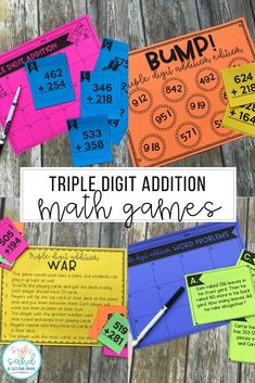 Triple Digit Addition with Regrouping - Task Cards, Word Problems & Game Addition Activities, Subtraction Activities, Addition Games, Math Addition, Math Activities, Teaching Addition, Numeracy, Therapy Activities, Fourth Grade Math