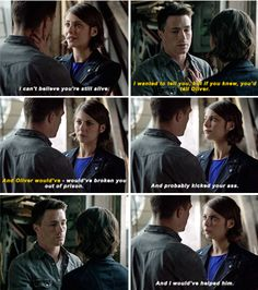 """""""I can't believe you're still alive"""" - Roy and Thea #Arrow"""