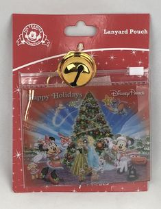 Details about Disney Parks Happy Holidays Christmas Lanyard Pouch With Bell  New 05eb6969e