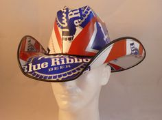 Beer Box Cowboy Hats. Made from Pabst Blue Ribbon Beer boxes. (Jeff, Trevor and Terry need this)