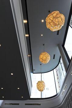 Modern New Hotel in Vienna: New Lighting Houses Design Of Hotel Topazz By BWM Architekten Und Partner On The Grey Ceiling Design Hotel, House Design, Room Interior, Home Interior Design, Central Building, Vienna Hotel, Grey Ceiling, Unique Hotels, Commercial Design