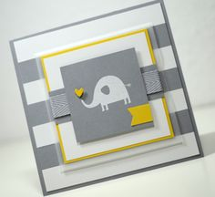 hand crafted card ... elephant ...l lots of layers ... gray and white with pops of yellow ... simple elegance!