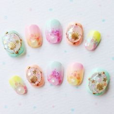 Pastel Shell Nail Very very very cute☆ A shell is locked by jel☆ Pastel color gradation is very good. http://michimall.com/products/pastel-s...